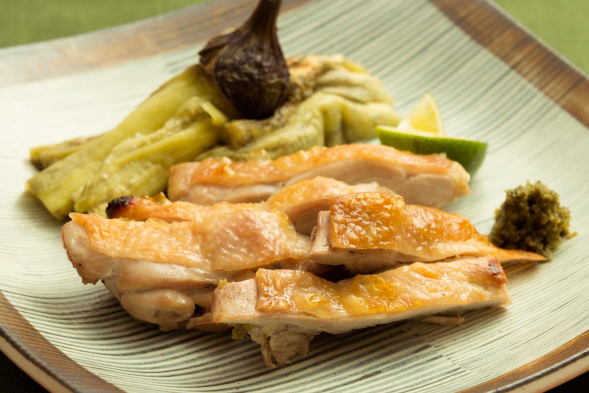 鶏もも肉と秋茄子の炙り焼き