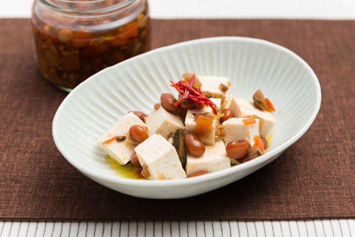 堅豆腐と金山寺みそ