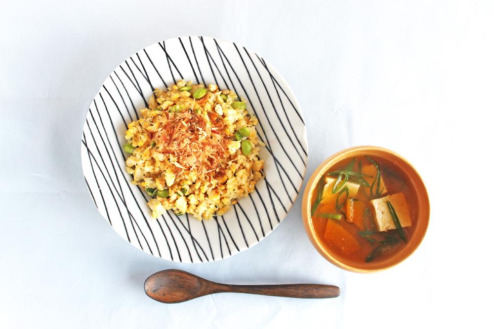 枝豆と堅とうふの和風チャーハン