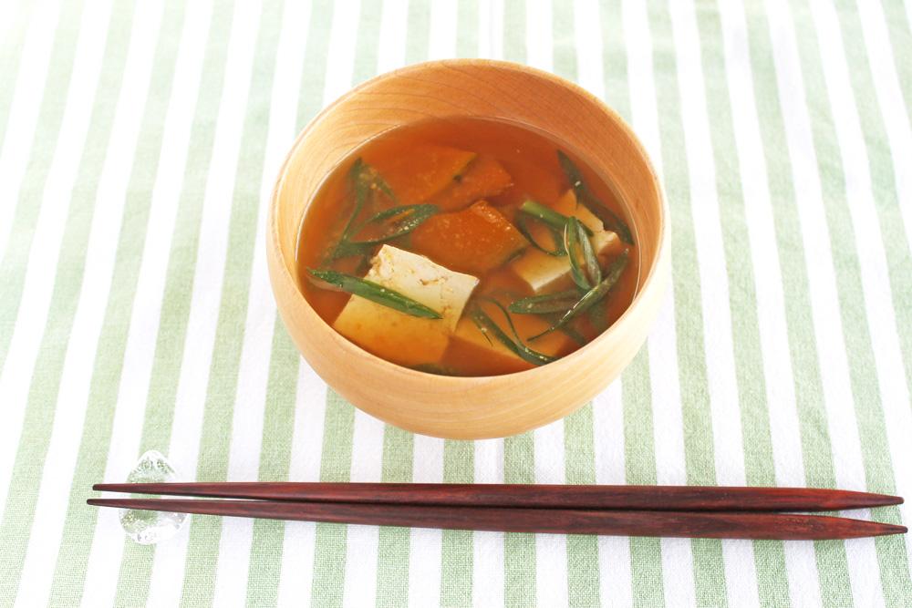 木綿豆腐とかぼちゃの味噌汁